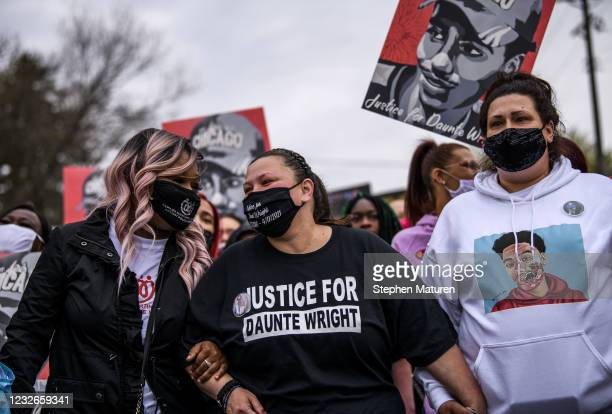 Katie Wright , mother of Daunte Wright, leads a march to the Brooklyn Center police headquarters on May 2, 2021 in Brooklyn Center, Minnesota....