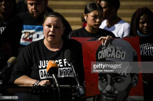 Katie Wright, mother of Daunte Wright, speaks outside the Minnesota State Capitol building on May 24, 2021 in St Paul, Minnesota. Members of the...