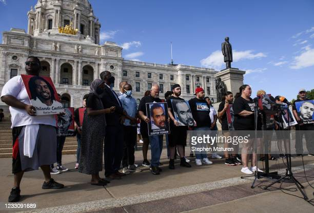 Katie Wright , mother of Daunte Wright, speaks outside the Minnesota State Capitol building on May 24, 2021 in St Paul, Minnesota. Members of the...