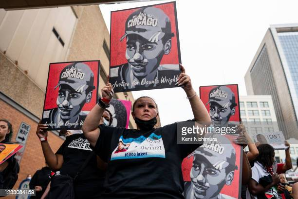 Katie Wright, mother of the late Daunte Wright, marches in the inaugural remembrance rally and march hosted by the George Floyd Global Memorial,...