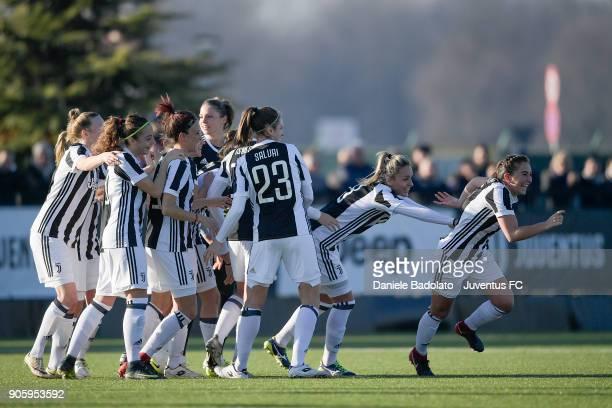 Katie Zelem celebrates 20 goal during the Juventus Women v Valpolicella Chievo Verona Women match at Juventus Center Vinovo on January 13 2018 in...