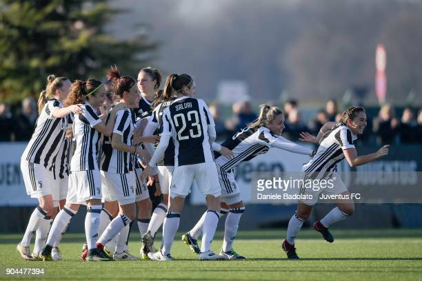 Katie Zelem celebrates 20 goal during the Women's Serie A match between Juventus Women and Fimauto Valpolicella at Juventus Center Vinovo on January...