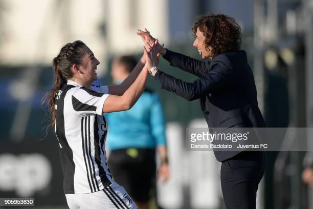 Katie Zelem celebrates 20 goal with Rita Guarino during the Juventus Women v Valpolicella Chievo Verona Women match at Juventus Center Vinovo on...