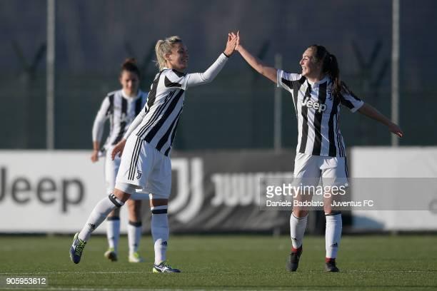 Katie Zelem celebrates 20 with Martina Rosucci goal during the Juventus Women v Valpolicella Chievo Verona Women match at Juventus Center Vinovo on...