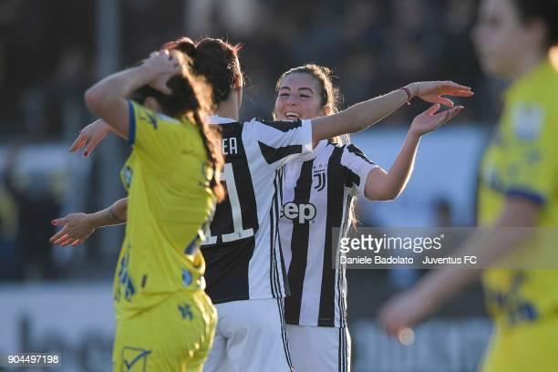Katie Zelem celebrates 50 goal at Juventus Center Vinovo on January 13 2018 in Vinovo Italy