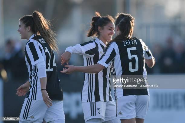 Katie Zelem celebrtaes 50 goal during the Juventus Women v Valpolicella Chievo Verona Women match at Juventus Center Vinovo on January 13 2018 in...