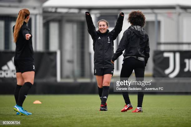 Katie Zelem during a Juventus Women training session on February 22 2018 in Vinovo Italy