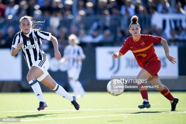Katie Zelem of Juventus in action during the match between Juventus Women and Res Roma Women at Juventus Center Vinovo on October 7 2017 in Vinovo...