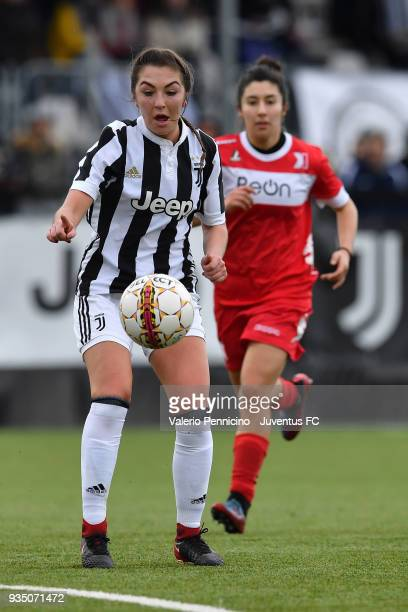 Katie Zelem of Juventus Women in action during the serie A match between Juventus Women and Pink Bari at Juventus Center Vinovo on March 17 2018 in...