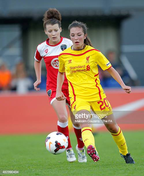 Katie Zelem of Liverpool competes with Angharad James of Bristol during the FA WSL game between Bristol Academy Women and Liverpool Ladies at Stoke...