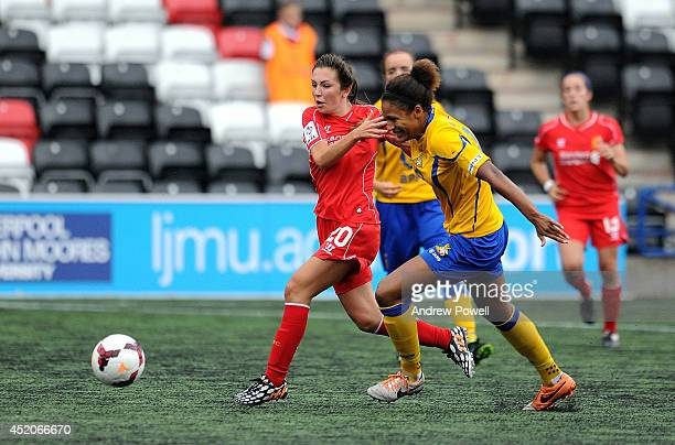Katie Zelem of Liverpool Ladies competes with Victoria Williams of Doncaster Rovers Belles during the FA WSL Continental Cup match between Liverpool...