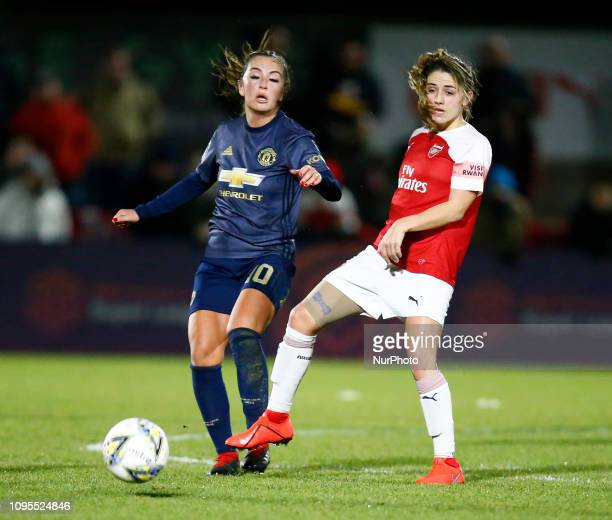 LR Katie Zelem of Manchester United Women and Danielle van de Donk of Arsenal during FA Continental Tyres Cup SemiFinal match between Arsenal and...