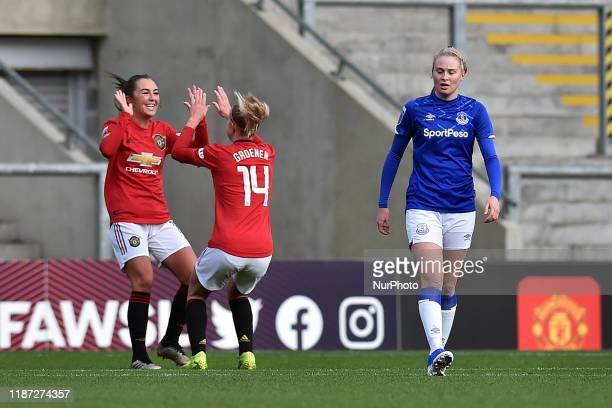 Katie Zelem of Manchester United Women celebrates scoring a penalty during the Barclays FA Women's Super League match between Manchester United and...