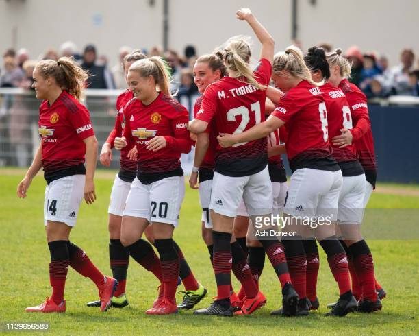 Katie Zelem of Manchester United Women celebrates scoring their first goal during the WSL 2 match between Tottenham Hotspur Women and Manchester...