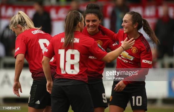 Katie Zelem of Manchester United Women celebrates scoring their first goal during the FA Women's Championship match between Manchester United Women...