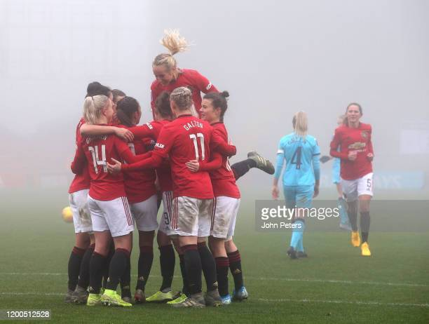 Katie Zelem of Manchester United Women celebrates scoring their first goal during the Barclays FA Women's Super League match between Manchester...