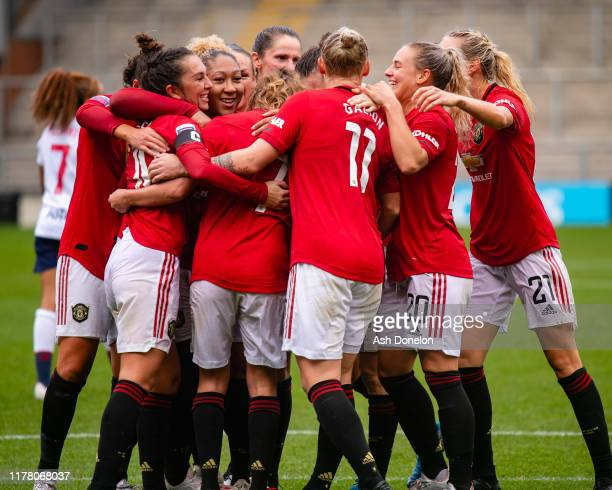Katie Zelem of Manchester United Women celebrates scoring their second goal during the Barclays FA Women's Super League match between Manchester...