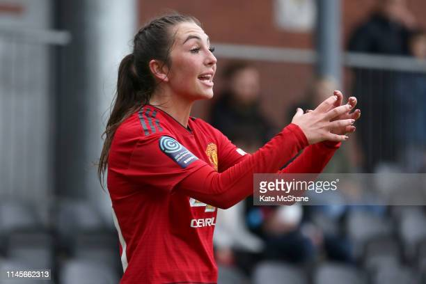 Katie Zelem of Manchester United Women gives instructions to team mates during the FA Women's Championship match between Millwall Lionesses and...