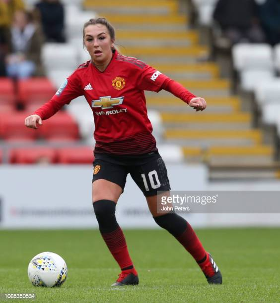 Katie Zelem of Manchester United Women in action during the WSL match between Manchester United Women and Millwall Lionesses at Leigh Sports Village...