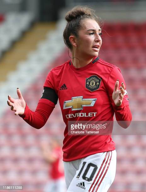 Katie Zelem of Manchester United Women looks on during the FA Women's Continental League Cup match between Manchester United Women and Manchester...