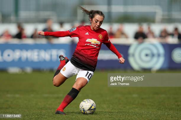 Katie Zelem of Manchester United Women runs with the ball during the WSL 2 match between Tottenham Hotspur Women and Manchester United Women at The...