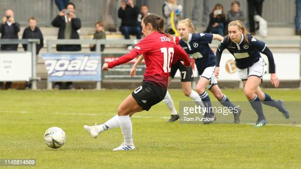 Katie Zelem of Manchester United Women scores their first goal during the FA Women's Championship match between Manchester United Women and Millwall...