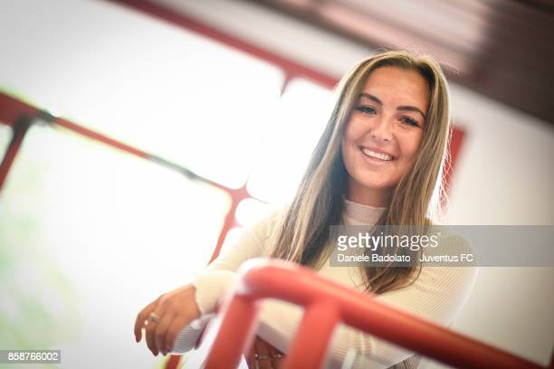 Katie Zelem poses before a Juventus Women training session on October 5 2017 in Turin Italy
