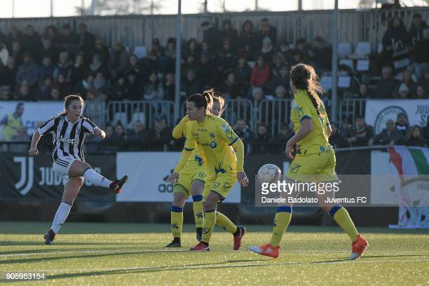 Katie Zelem scores 50 goal during the Juventus Women v Valpolicella Chievo Verona Women match at Juventus Center Vinovo on January 13 2018 in Vinovo...