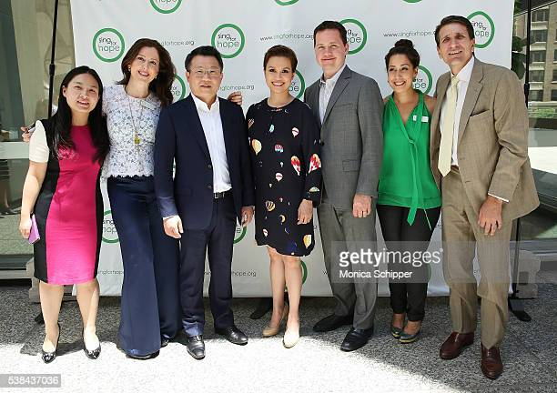 Katie Zhao Camille Zamora Wei Bo Lea Salonga Erik Horvat Monica Yunus and Tom Costanzo attend The 2016 Sing For Hope Pianos launch event on June 6...