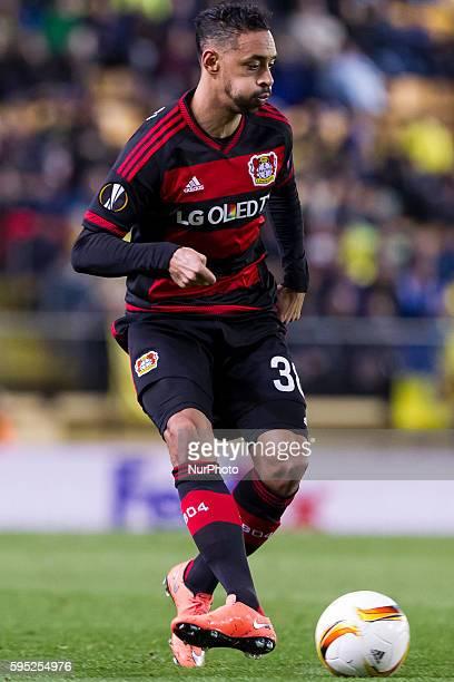 Katim Bellarabi of Bayer 04 Leverkusen during UEFA Europa League Round of 16 first legs match between Villarreal CF and Bayer 04 Leverkusen at El...