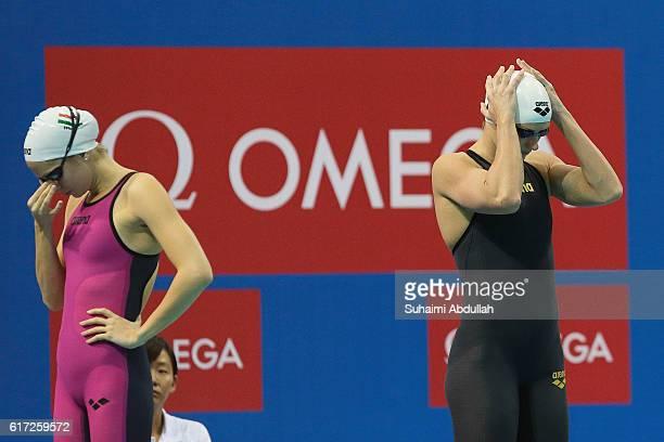 Katinka Hosszu of Hungary and Boglarka Kapas of Hungary prepare to compete in the Women's Freestyle 400m Final during the 2016 FINA Swimming World...