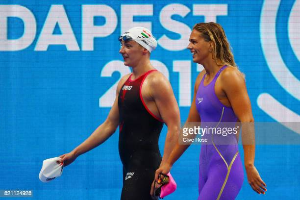 Katinka Hosszu of Hungary and Yuliya Efimova of Russia during the Women's 200m Individual Medley heats on day ten of the Budapest 2017 FINA World...