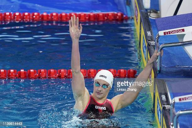 Katinka Hosszu of Hungary celebrates after win the Womens 400m Freestyle final during the FINA Champions Swim Series Guangzhou at Guangdong Olymipic...