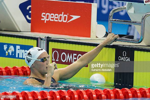 Katinka Hosszu of Hungary celebrates her win in the Women's 400m Freestyle Final during the FINA World Cup at the OCBC Aquatic Centre on October 4...