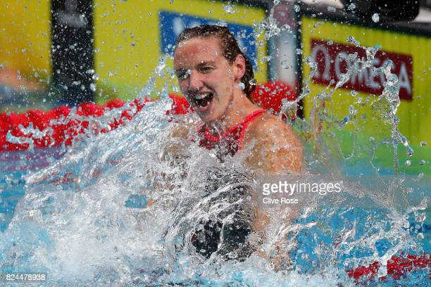 Katinka Hosszu of Hungary celebrates victory in the Women's 400m Individual Medley on day seventeen of the Budapest 2017 FINA World Championships on...