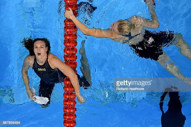 Katinka Hosszu of Hungary celebrates winning gold in the Women's 200m Individual Medley Final on Day 4 of the Rio 2016 Olympic Games at the Olympic...