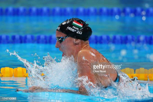 Katinka Hosszu of Hungary competes during the Swimming Women's 200m Individual Medley Semifinal 2 on day nine of the 15th FINA World Championships at...