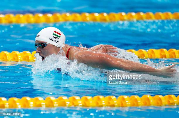 Katinka Hosszu of Hungary competes during the Woman's 400m Individual Medley final during day two of the FINA Swimming World Cup at Duna Arena on...
