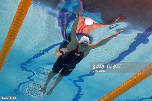 Katinka Hosszu of Hungary competes during the Women's 200m Butterfly semi final on day thirteen of the Budapest 2017 FINA World Championships on July...