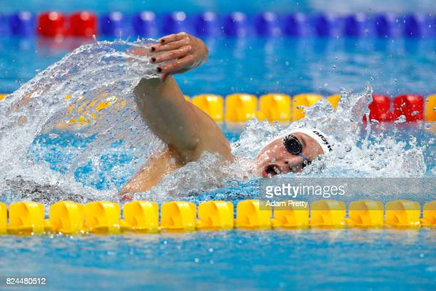 Katinka Hosszu of Hungary competes during the Women's 400m Individual Medley on day seventeen of the Budapest 2017 FINA World Championships on July...