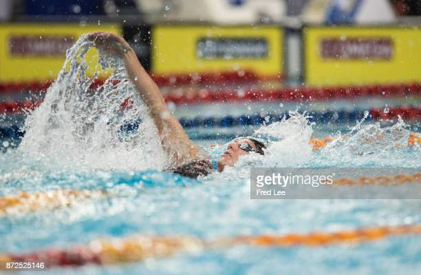 Katinka Hosszu of Hungary competes in the Women's 100m Backstroke final on day one of the FINA swimming world cup 2017 at Water Cube on November 10...