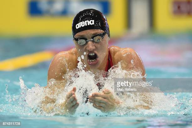 Katinka Hosszu of Hungary competes in the Women's 100m Individual Medley heats during day two of the FINA Swimming World Cup at Tokyo Tatsumi...