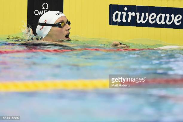 Katinka Hosszu of Hungary competes in the Women's 100m Individual Medley Final during day two of the FINA Swimming World Cup at Tokyo Tatsumi...