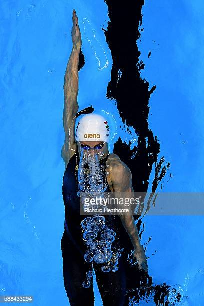 Katinka Hosszu of Hungary competes in the Women's 200m Backstroke heat on Day 6 of the Rio 2016 Olympic Games at the Olympic Aquatics Stadium on...