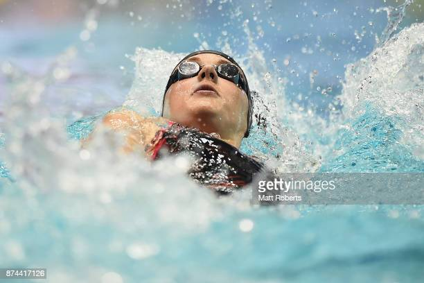 Katinka Hosszu of Hungary competes in the Women's 200m Backstroke Final during day two of the FINA Swimming World Cup at Tokyo Tatsumi International...