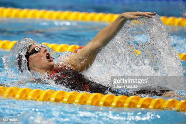 Katinka Hosszu of Hungary competes in the women's 200m Backstroke final during the FINA Swimming World Cup at OCBC Aquatic Centre on November 18 2017...