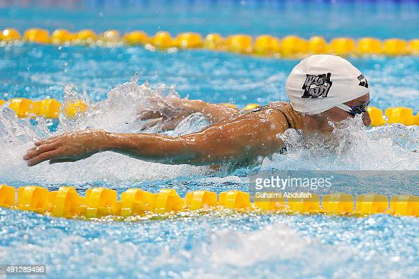 Katinka Hosszu of Hungary competes in the Women's 200m Butterfly Final during the FINA World Cup at the OCBC Aquatic Centre on October 4 2015 in...