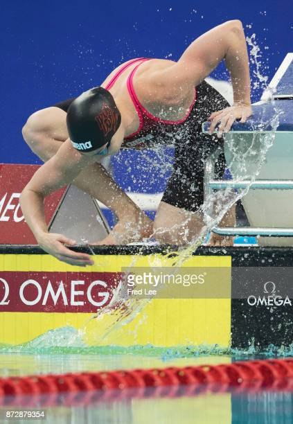 Katinka Hosszu of Hungary competes in the Women's 200m Individual Medley final on day two of the FINA swimming world cup 2017 at Water Cube on...