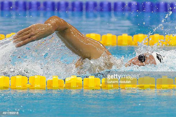 Katinka Hosszu of Hungary competes in the Women's 400m Freestyle Final during the FINA World Cup at the OCBC Aquatic Centre on October 4 2015 in...