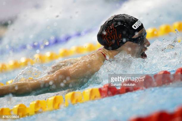 Katinka Hosszu of Hungary competes in the women's 400m Individual Medley final during the FINA Swimming World Cup at OCBC Aquatic Centre on November...